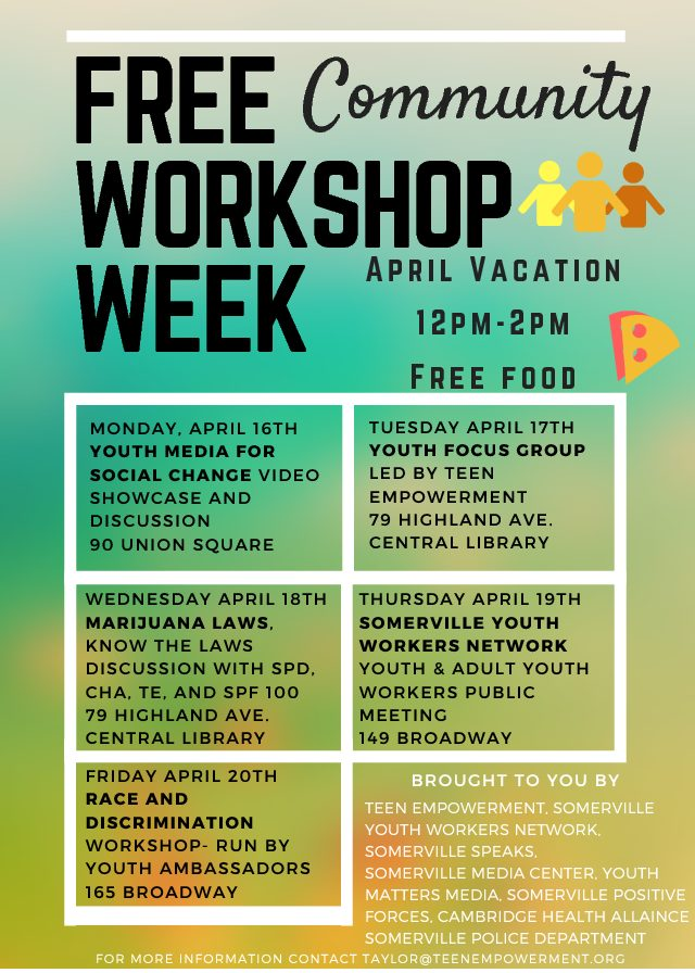 Somerville Community Workshop Week Center For Teen